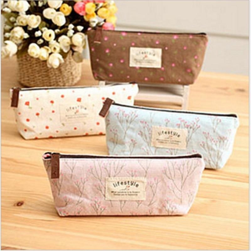 Cute Kawaii Floral Flower Canvas Zipper Pencil Cases Lovely Fabric Flower Tree Pencil Pen Bags School Supplies Korean Stationery