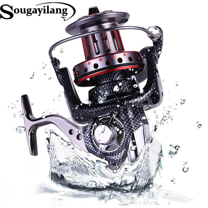 где купить  Sougayilang 10000Series Fishing Reel 11BB Super Big Spool Spinning Line Wheel Full Metal Saltwater Boat Rock Fishing Reel Takcle  по лучшей цене