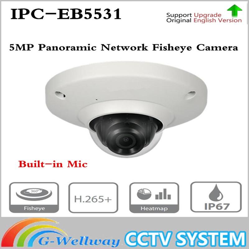ahua 5MP Panoramic Network 1.4mm Fisheye IP Camera IPC-EB5531 Built-in Mic CCTV H.265/H.264 3DNR AWB AGC BLC IP67 PoE Detection ahua ipc eb5531 5mp wdr panorama 180 degree built in mic with sd card slot poe network fisheye ip camera replace ipc eb5500