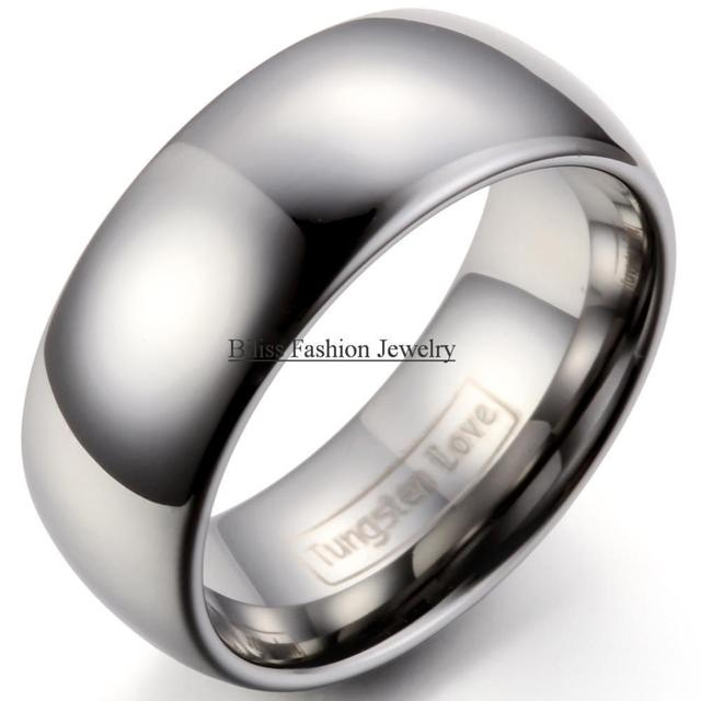High Quality 9mm Silver Comfort Fit Classic Dome Men Ring Tungsten Rings  For Men Wedding Bands