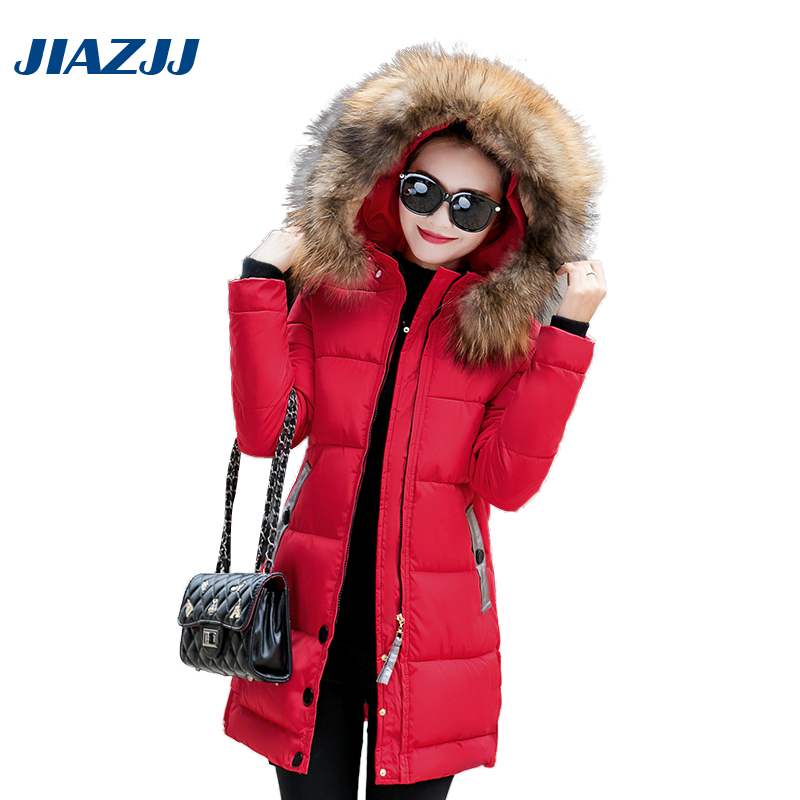 Winter Hooded Wool Collar Jacket Warm Long Coat Women Manteau Slim Fashion Cotton-Padded Clothing Parkas 2017 For Thicken M1 2016 new women s winter jacket knitting wool hooded cotton padded coat korean stitching women warm parkas manteau femme jy 1156