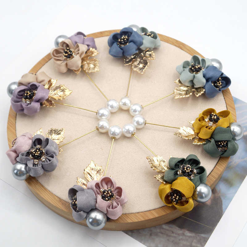 New Cloth Art Pearl Fabric Flower Brooch Pin with Rhinestone Colorful Lace Flower Brooch for Women Accessories