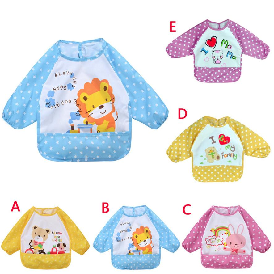 Baby Bibs&Burp Clothes Long Sleeve Waterproof Bib Toddler Boy Girl Feeding Art Apron Towel Baby bibs for Babies 18Jul9 foodie babies wear bibs