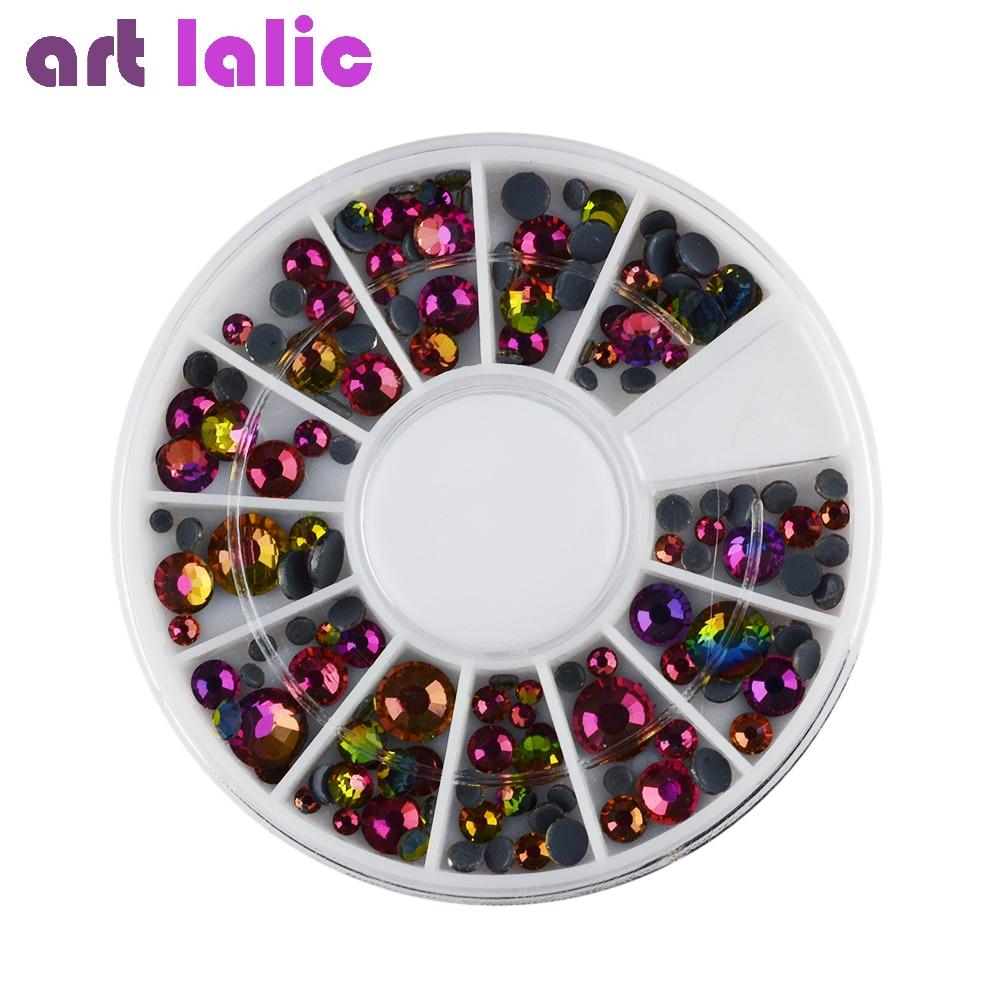 Artlalic 1 Wheel 3D Nail Art Rhinestones Colorful Flame Drill ...