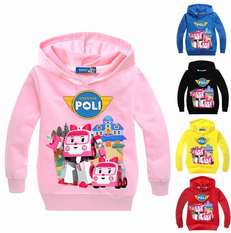 Boys Girls Hooded Tshirt Kids Cotton Sweatshirts Robocar poli Hoodies Tops Spring children clothes For 4 6 8 10 12 14 Years