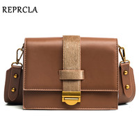 REPRCLA Brand Designer Leather Strap Shoulder Bags High Quality Women Messenger Bags PU Crossbody Metal Lock