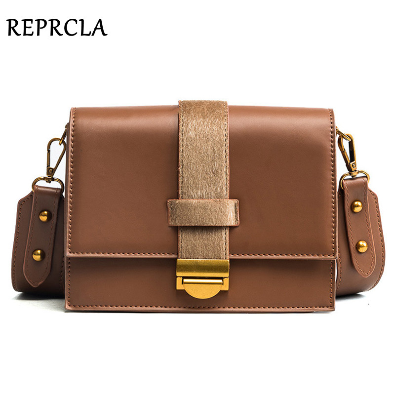 REPRCLA Brand Designer Leather Strap Shoulder Bags High Quality Women Messenger Bags PU Crossbody Metal Lock Flap Women Bag