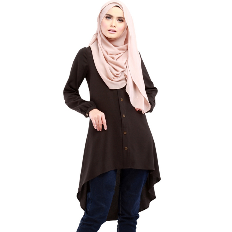 Plus Size 3XL New Muslim Abaya Arabic Dress Loose Shirt Dresses Button Large Size Muslim Women Chiffon Retro Islamic Dress