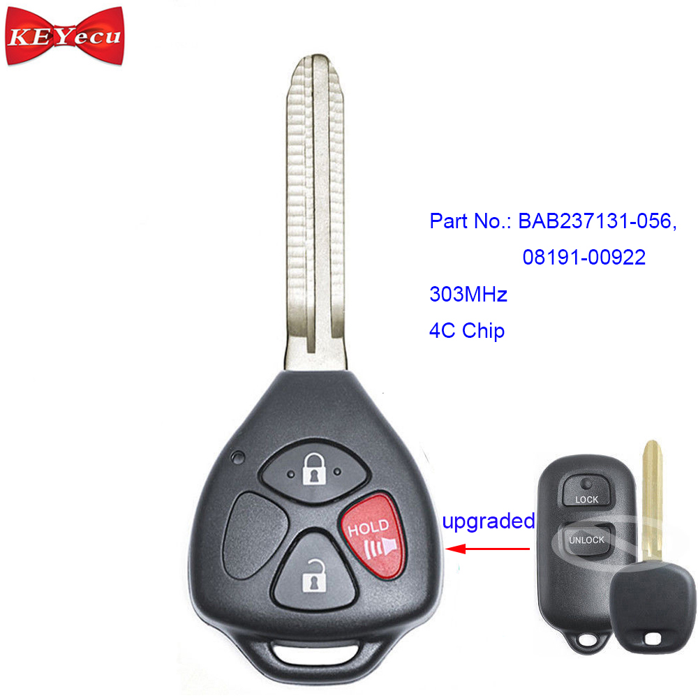 for Toyota Avalon Camry Corolla Sienna Tacoma Modified Remote Car Key Fob 303MHz