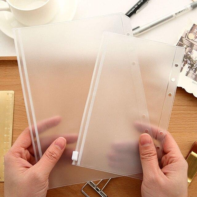 Bolsa de almacenamiento de PVC transparente para cuaderno de viajero diario planificador de día bolsa de cremallera tarjetas de visita, notas bolsa planificador Accesorios