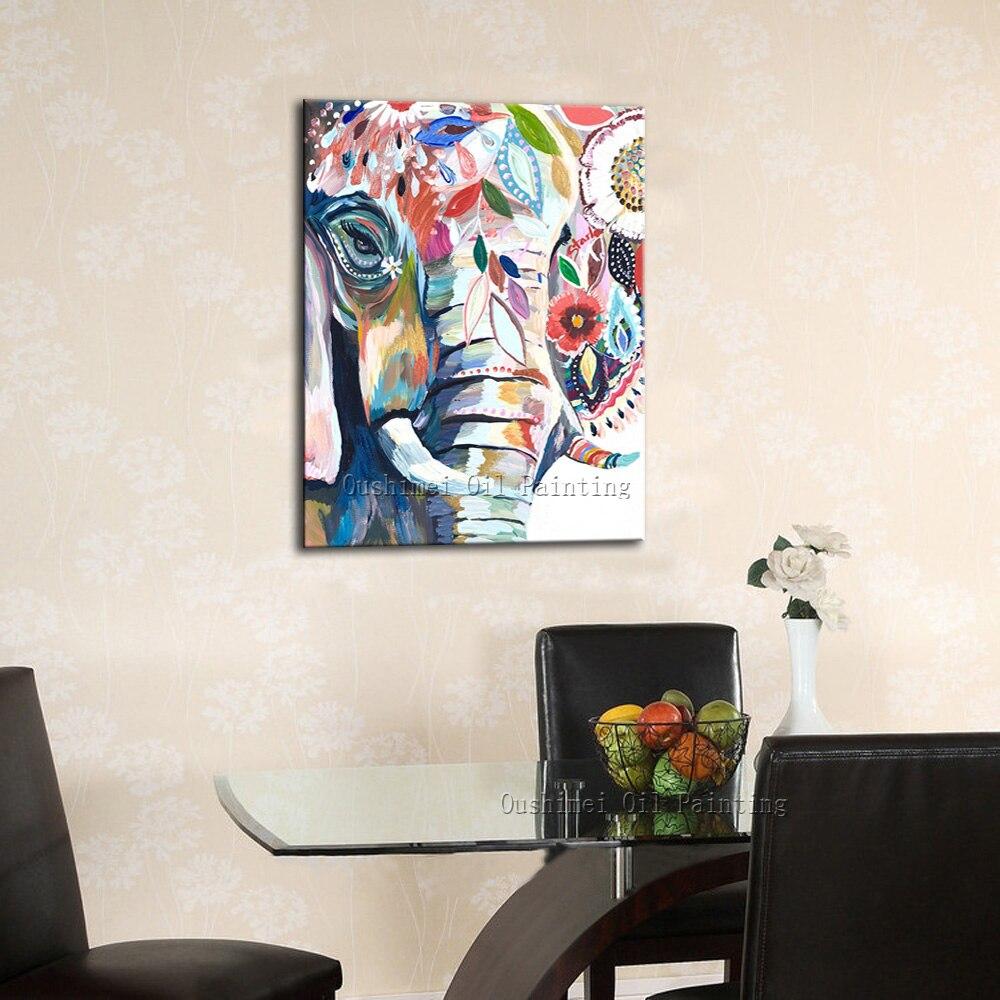 Картина маслом в рамке пять частей современные абстрактные цветочные картины для гостиной стены - 4