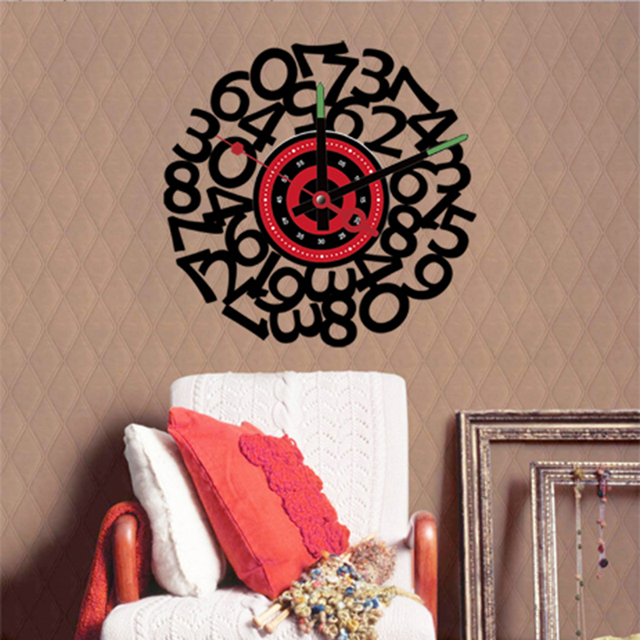 Diy vinyl wall stickers clock the novelty home decoration numbers watch quartz living room 10a209 free