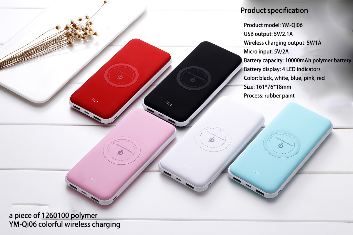 10000 Power Bank wireless 10000mAh charge Polymer External Battery 5V/1.5A for phone