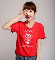 Fashion Kpop Vixx Concert Same T Shirt Vixx Robot Printing O Neck Short Sleeve T Shirt