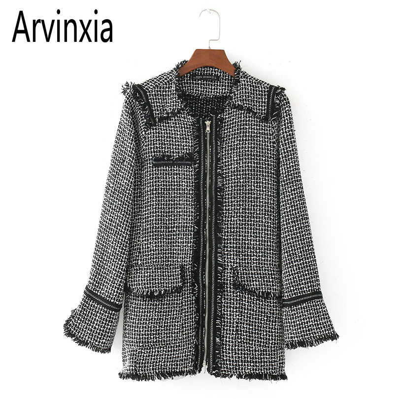 Arvinxia ZA New Arrivals Zipper O Neck Women Coats Fashion Winter Plaid Woman Suit Jackets Europe Style Long Sleeve Lady Outware