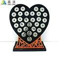 Nova Chegada 18mm Botão de Pressão Display Stands Moda Black Heart Acrílico DIY Intercambiáveis Botão Placa de Exposição de Jóias