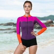 Sbart 2mm mujeres neopreno buceo Trajes Vestidos snorkeling mojado Trajes  Natación Surf vela Rash guards manga larga DBO 8bf795caa94