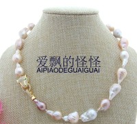 18''12x19mm White Purple Pink Keshi Pearl Necklace