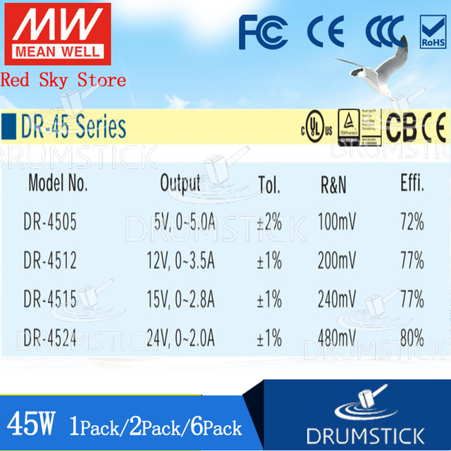 (1PACK) Meanwell 45W DIN Rail Power Supply DR-4524/5/12/15 2A 2.8/3.5/5A Home/Industrial Control System Building Automation 4
