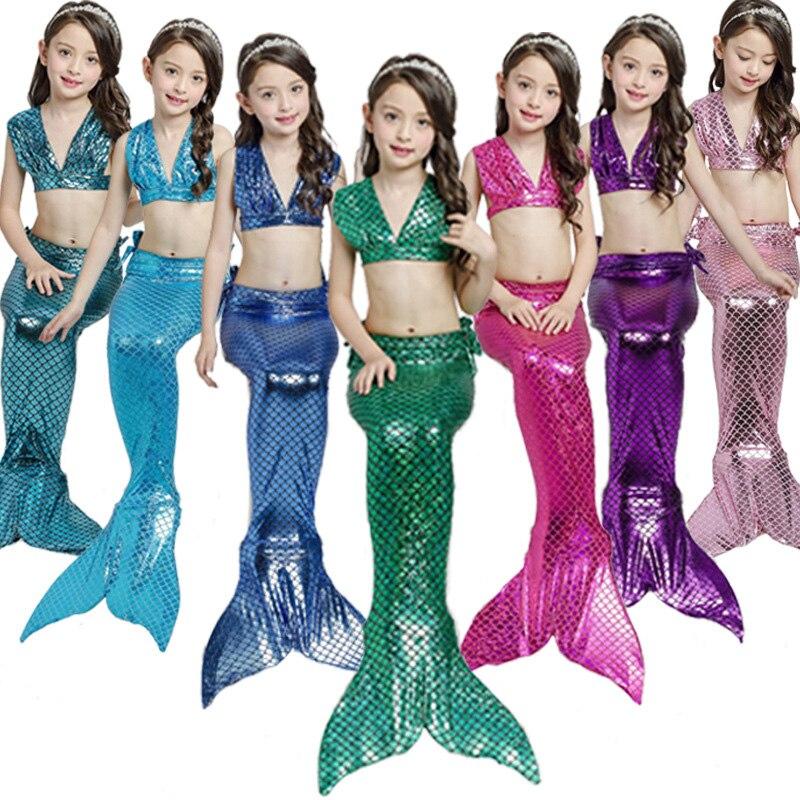 3Pieces Girl's Mermaid Tails For Swimming Costume Kid Zeemeerminstaart Cola De Sirena Cauda De Sereia Cosplay Costumes