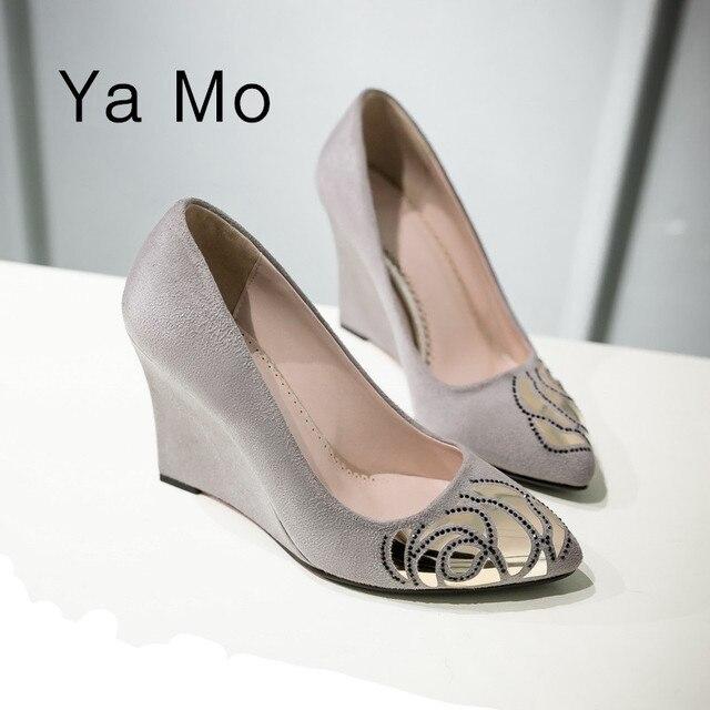 Новые моды для женщин туфли на каблуках острым носом женщины свадебные обувь черный клин обувь серый каблуки партия обуви для женщин 2017