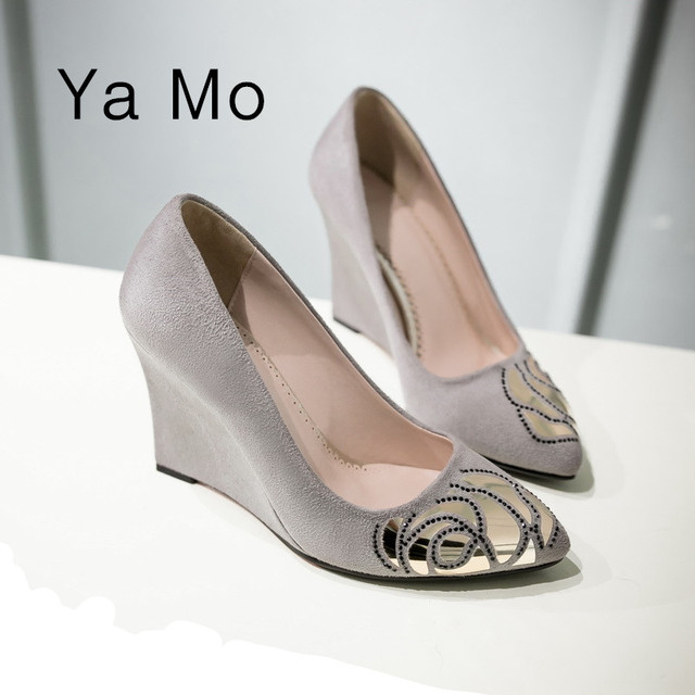 New fashion women high heels shoes pointed toe women wedding shoes black wedge shoes grey heels party shoes for women 2017