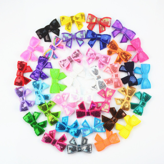 120 unids/lote 37 colores U Pick 1,8 Petite Glitter bordado lentejuelas arcos DIY recién nacido diadema ropa zapatos accesorios HDJ108