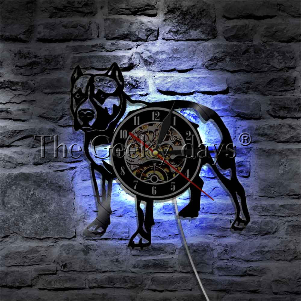 1Piece American Bully Pitbull Vinyl Record Wall Clock Home Decor Pet Puppy Animal Dog Modern Wall Lamp Decorative Lighting точилка двухфункциональная
