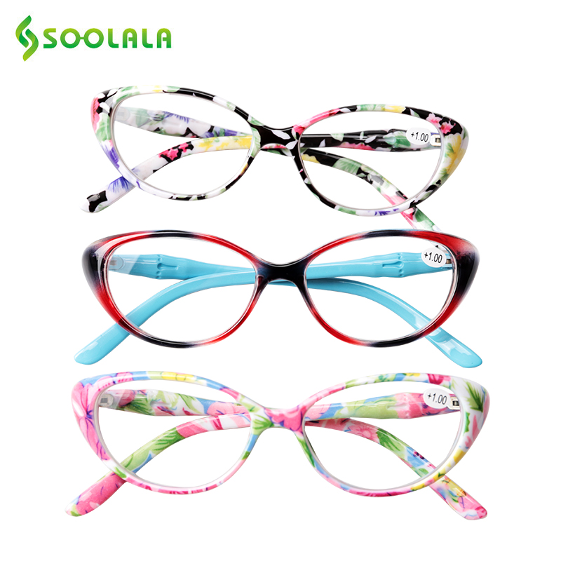 SOOLALA Cat Eye Reading Glasses Women With Case Floral Printed Presbyopic Magnifying Eyeglasses 1.0 1.25 1.5 1.75 2.0 To 4.0