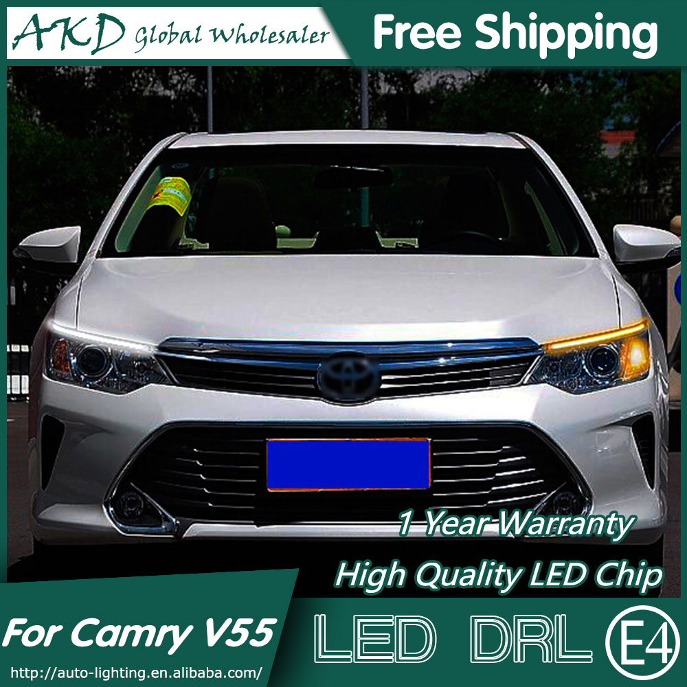 AKD Car Styling LED DRL for Toyota Camry V55 2014-2015 New Camry Eye Brow Light LED External Lamp Signal Parking Accessories 2014 2015 year camry v55 led bumper light for toyota v1