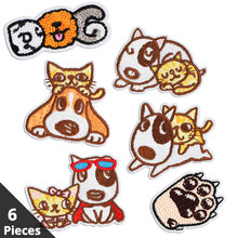 6 Pieces Lot Embroidery Dog Patch on Clothes Sticker Iron Patches for Clothing Sew Cloth Badge Cat Children DIY Bag Repair