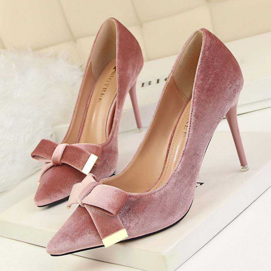 BIGTREE Brand Women Nude Green Heels Sapato Salto Feminine Butterfly Bow 9.5cm High-Heels Scarpin Suede Pumps Valentine Shoes