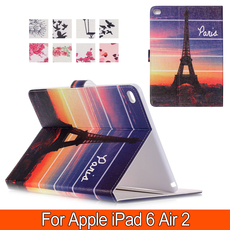 Fashion Patterns Smart Cover Case For iPad 6 air 2 PU Leather with Stand Wallet for Apple iPad Air2 6 9.7 inch free shipping