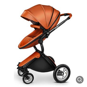 Baby stroller leather two-way high landscape shock absorber baby stroller can sit and lie on the baby stroller stroller