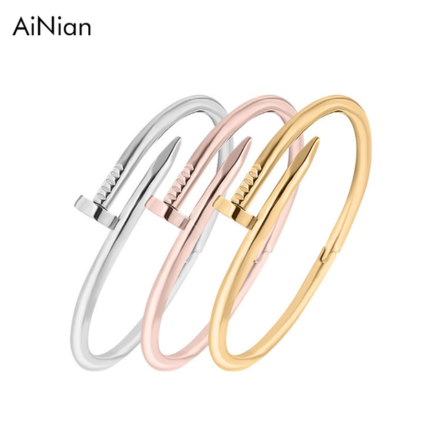 70c31051260c2 Screws Nail Cuff Bangles Copper Love Bracelets For Women Gold Pulsera Jewelry  Stainless Steel Screw Bracelet Pulseiras Femininas