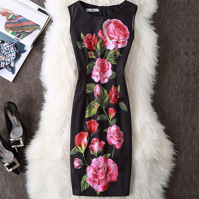 Fenghua Summer Dress Women 2017 Party Elegant Sexy Slim Casual Dresses Floral Vintage Office Bodycon Dress Plus Size 3XL 4XL