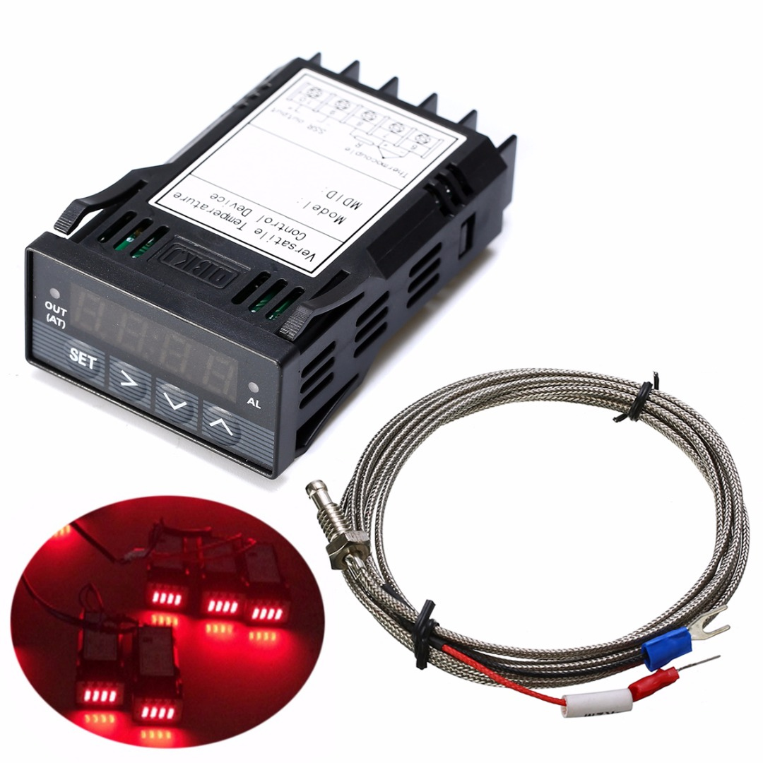 DC 12V XMT7100 Temperature Controller 1/32DIN Digital F/C PID Red LED Display With K Thermocouple For Industrial Equipment xmt7100 mini panel size 48 24mm intelligent led digital display pid temperature controller for industrial usage