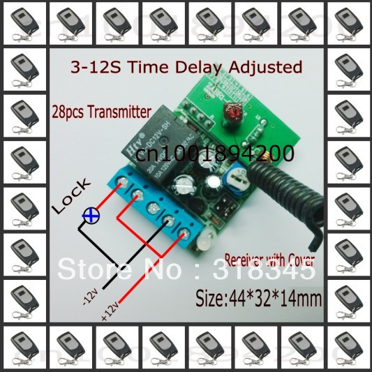 DC12V Electric Control Lock  Wireless Control Switch Door Access System Momentary Time Delay 3-12S Adjusted +28pcs Transmitter dc 12v led display digital delay timer control switch module plc automation new