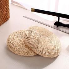 Meditation Cushion Thickening Yoga Circle Corn Husk Straw Braid Mat Japanese Style Cushion with Silk Wadding