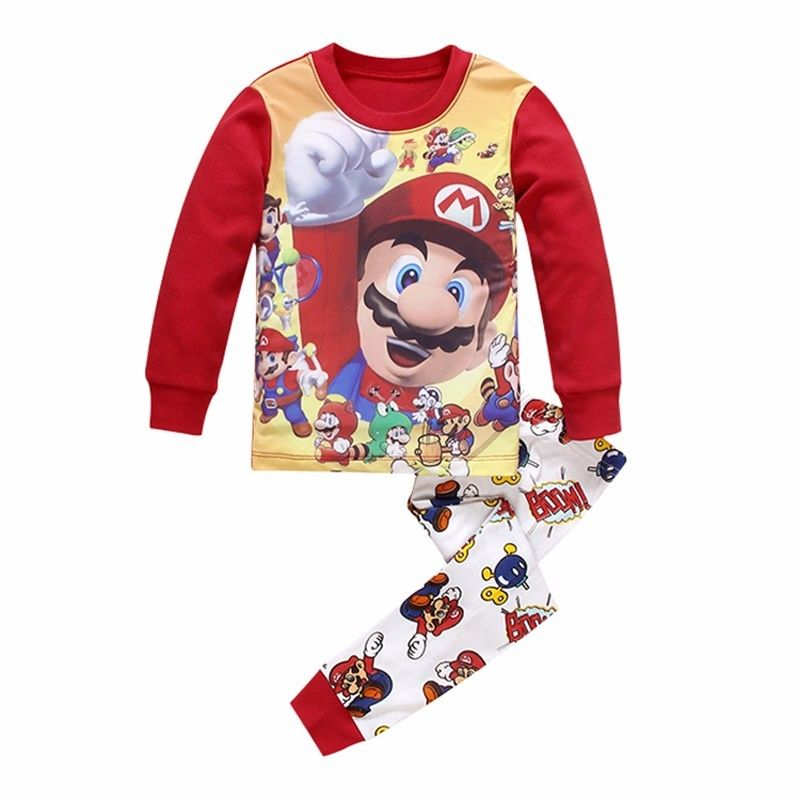 2016 New Super Mario Baby Kids Girls Boys Clothing Sets Children Nightwear Pajamas Set Sleepwear Suit 22 2016 christmas suit 0 3y newborn toddler kids girls boys reindeer homewear nightwear sleepwear pajamas set 2pcs
