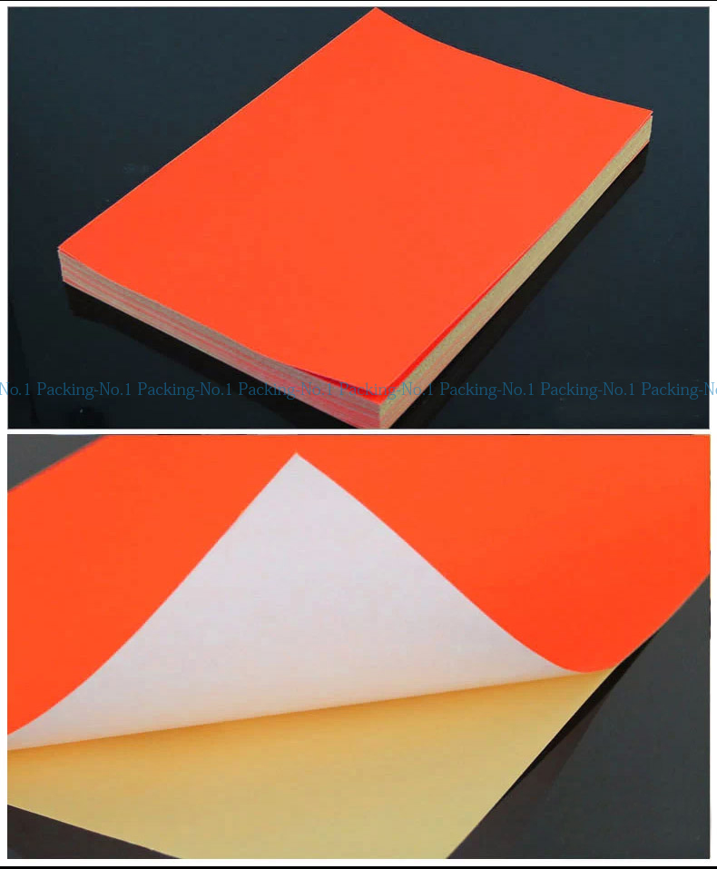 100 sheets lot fluorescent neon red a4 self adhesive paper printing