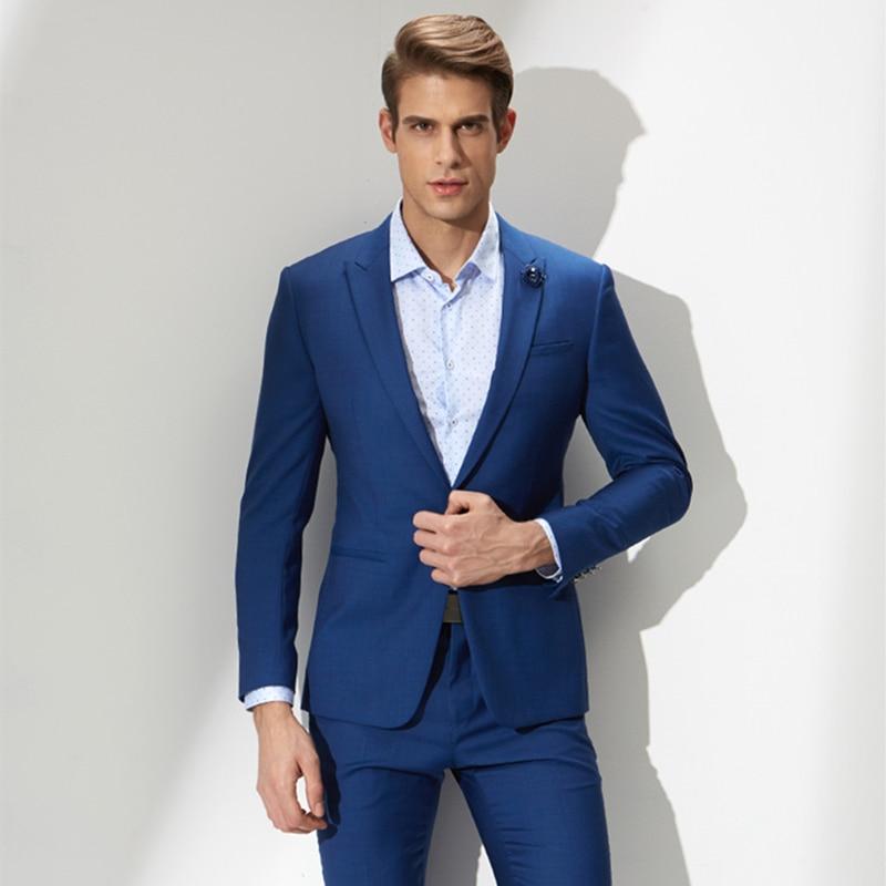 Aliexpress.com : Buy Hand made Two Buttons dark Blue Suit Men