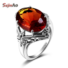 Szjinao Custom Processing 925 Sterling Silver Brown Crystal Ring Engagement Wedding Jewelry Elegant Luxury Retro Jewelry