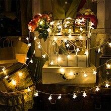 10 м 80 светодиодный s 3AA на батарейках в форме звезды светодиодный Сказочный свет Рождественские Праздничные Свадебные украшения Вечерние огни