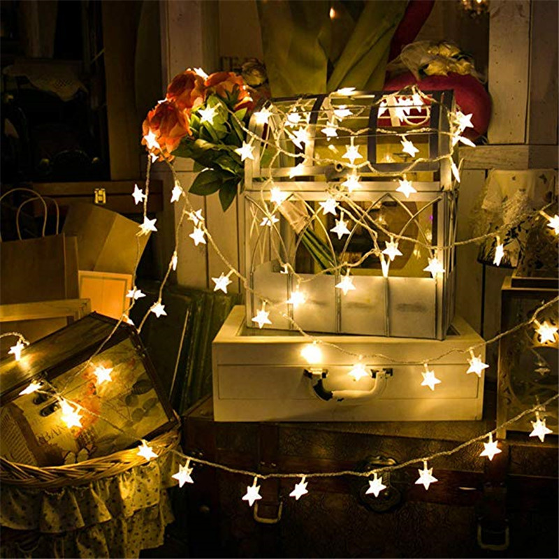 10M 80LEDs 3AA Battery Powered STAR Shaped Theme LED String Fairy Lights Christmas Holiday Wedding Decoration Party Lighting