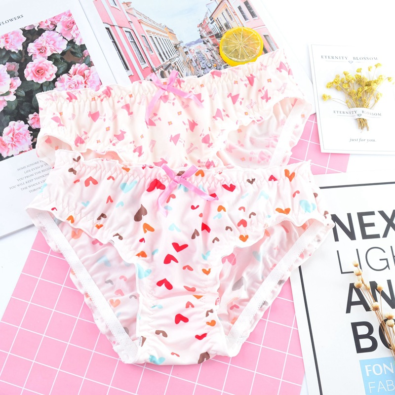 SP&CITY Japan Sweet Printing Fold Women Panties Cartoon Ruffle Milk Silk Bow Underwear Seamless Sexy Briefs Girl Lingerie Kawaii