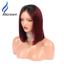 Alicrown T1B/Burgundy Ombre Hair Bob Wigs Lace Front Human Hair Wigs Straight Short Brazilian Remy Hair wigs Pre-Plucked(China)