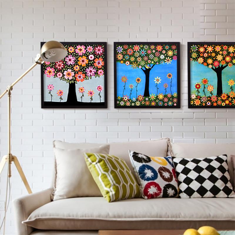 resumen de colores de diferentes flores leo de la lona grande rbol verde hierba cuadro de