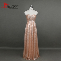Real Picture Rose Gold Bridesmaid Dresses 2016 Sweetheart Sequin Long Maid Of Honor Dresses Vestido Madrinha