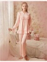 Autumn Pajamas Set Ladies Vintage Pajamas For Women Sleepwear Femmes